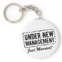 Just Married keychain   Under new management stamp