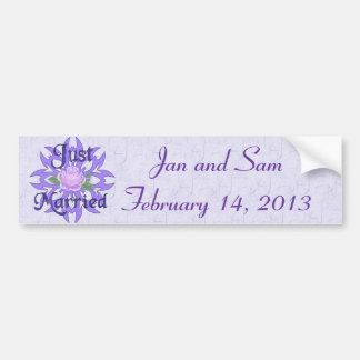 Just Married Lavender Rose Bumper Sticker