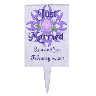 Just Married Lavender Rose Cake Topper