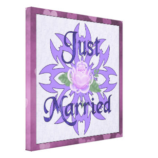 Just Married Lavender Rose Gallery Wrapped Canvas