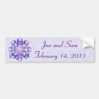 Just Married Lavender Rose Car Bumper Sticker