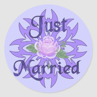 Just Married Lavender Rose Classic Round Sticker