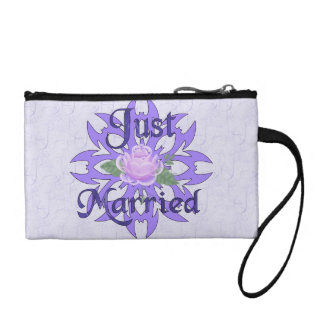 Just Married Lavender Rose Coin Purse