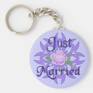 Just Married Lavender Rose Keychain