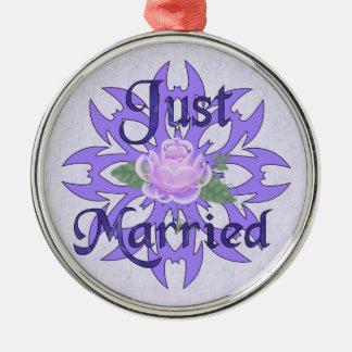 Just Married Lavender Rose Metal Ornament