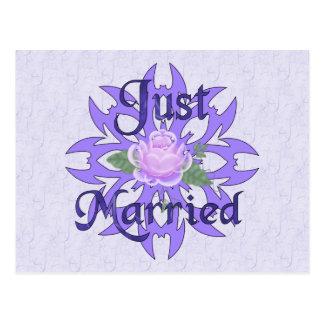 Just Married Lavender Rose Postcard