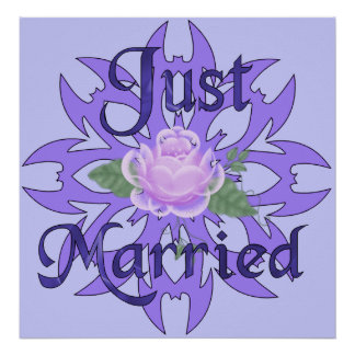 Just Married Lavender Rose Poster