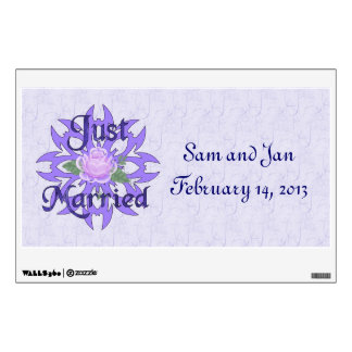 Just Married Lavender Rose Wall Sticker