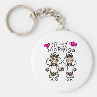 Just Married Lesbians Basic Round Button Keychain