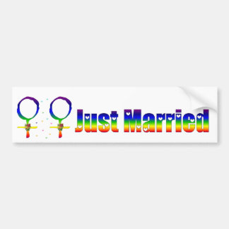 Just Married Lesbians Bumper Sticker