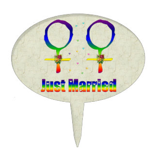 Just Married Lesbians Cake Topper