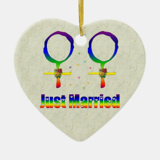 Just Married Lesbians Ceramic Ornament