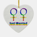 Just Married Lesbians Double-Sided Heart Ceramic Christmas Ornament