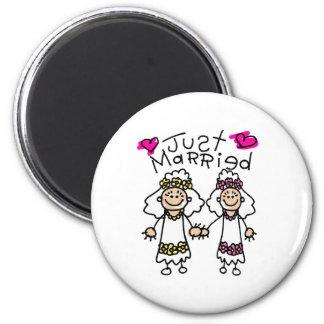 Just Married Lesbians Fridge Magnet