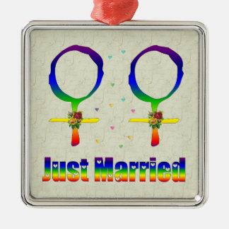 Just Married Lesbians Metal Ornament