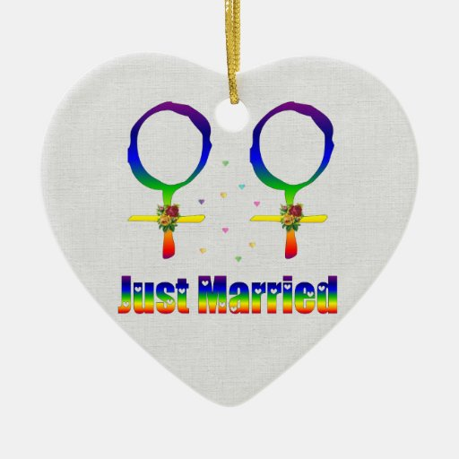 Just Married Lesbians Christmas Ornament
