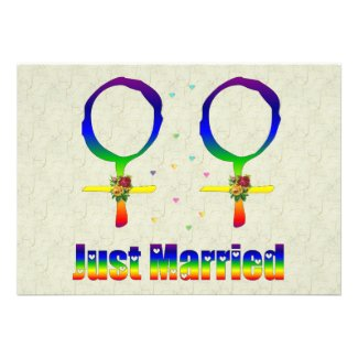 Just Married Lesbians Personalized Invitation