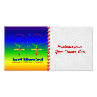 Just Married Lesbians Custom Photo Card