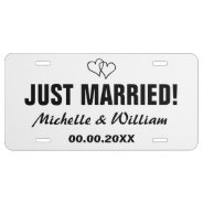 Just Married License Plate For Wedding Car at Zazzle