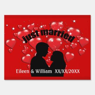 Just Married Love Hearts Custom Med Yard Sign