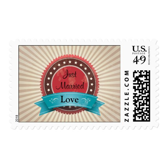 Just Married Love Red & Tan Brown Sunburst Stamp