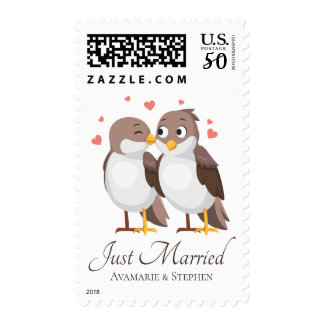 Just Married Lovebirds Brown & White Wedding Birds Postage