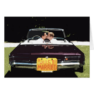 """""""just married"""" male wedding GREETING CARD"""