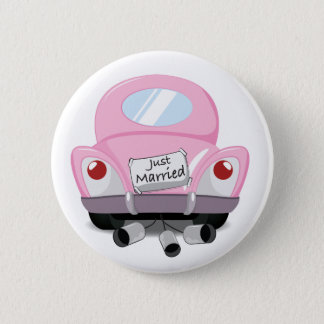 just+married,married+car,cartoon+marriage+car,marr pinback button
