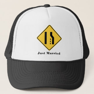 Just Married Merge Lane Reduction Funny Wedding Trucker Hat