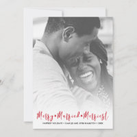 Just Married Merriest Christmas Holiday Photo
