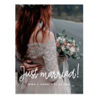 Just married Modern calligraphy wedding photo Postcard