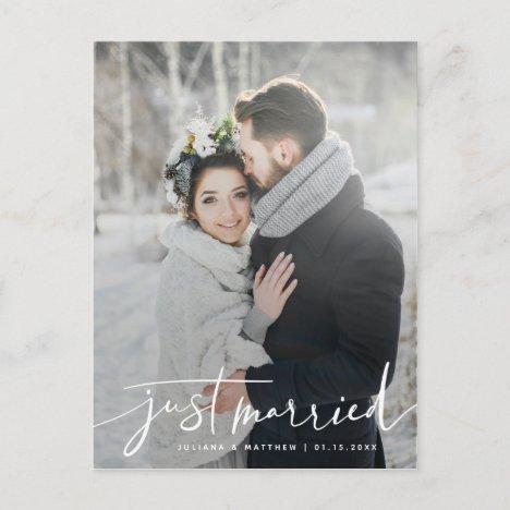 Just Married Modern Casual Script Wedding Announcement Postcard