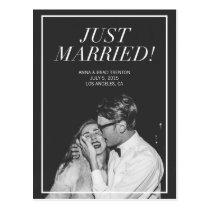 Just Married   Modern Photo Wedding Announcement Postcard