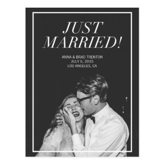 Just Married | Modern Photo Wedding Announcement Postcard