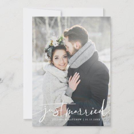 Just Married Modern Script Wedding Photo Announcement