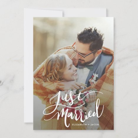 Just Married Modern Script with Photo Wedding Announcement