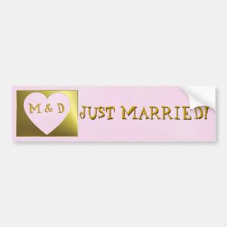 Just Married Monogram Pink /Golden Bumper Sticker