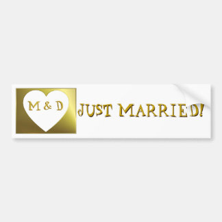 Just Married Monogram Weds Golden Bumper Sticker