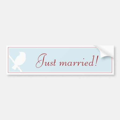 """Just married!"" more carsticker into aque with Bir Bumper Sticker"