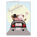 Just Married Mouse Bride and Groom Wedding Cards