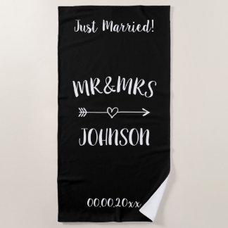 Just married Mr and Mrs beach towel for newly weds