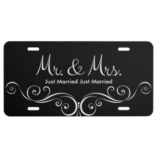 Just Married Mr And Mrs License Plate