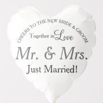 Just Married Mr. and Mrs. Wedding Heart Balloon