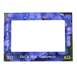 Just Married Mr. & Mrs. Blue Hydrangea Floral Magnetic Frame