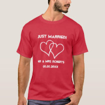 Just Married Mr & Mrs t shirt set for newlyweds