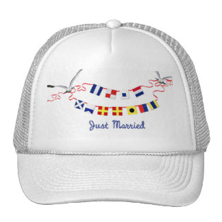 Just Married Nautical Flags Trucker Hat