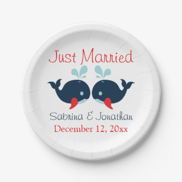Beach Themed Just Married Navy Blue Red Whales Nautical Wedding Paper Plate