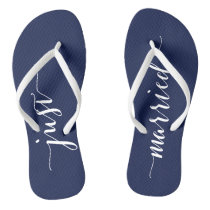 Just Married Navy Blue Wedding Party Flip Flops