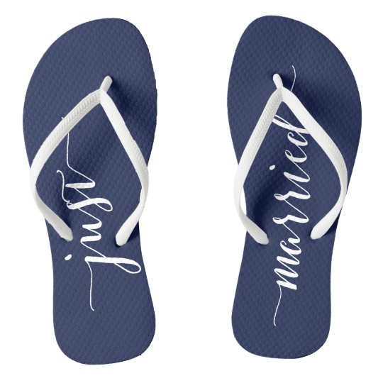 Just Married Navy Blue Wedding Party Flip Flops | Zazzle.com
