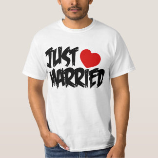 JUST MARRIED,NEWLY WEDS,NEWLY MARRIED COUPLE TSHIRT